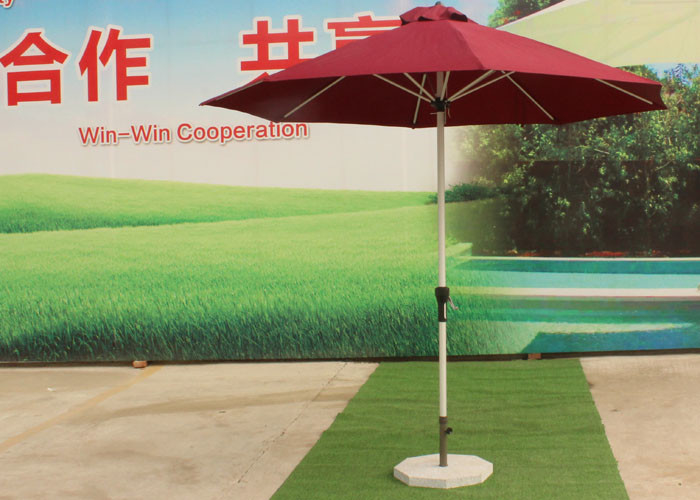 3.0 M Red Big Outdoor Umbrella , Round Patio Umbrella Parasol For Garden