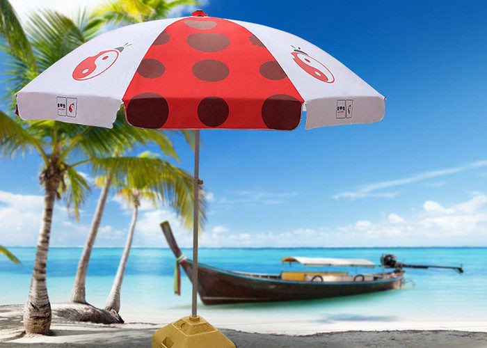 Luxury Red And White Outdoor Cafe Umbrellas With 500D Oxford Fabric , Heat Transfer Printing